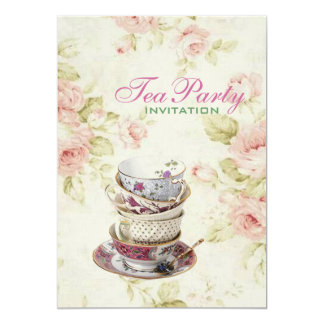 elegant Pink  rose Floral vintage Bridal tea party Card