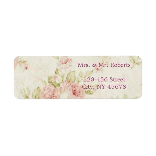 elegant Pink  rose Floral vintage  wedding Return Address Label