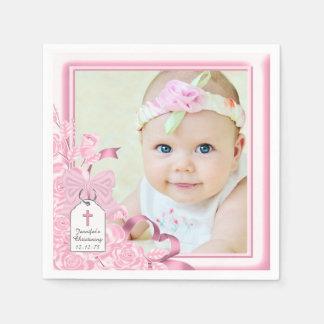Elegant Pink Rose Photo Christening Disposable Serviette