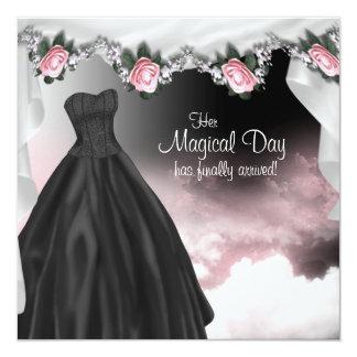 Elegant Pink Rose Quinceanera Invitations