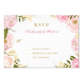 Elegant Pink Rose Quinceanera RSVP Card