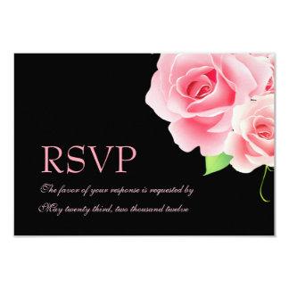 Elegant Pink Rose Response Card [Black] 9 Cm X 13 Cm Invitation Card