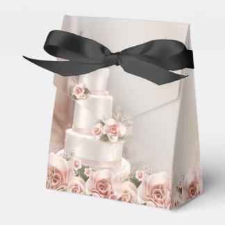 Elegant Pink Rose Wedding Cake Wedding Favour Box