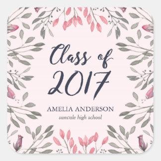 Elegant Pink Roses Class of 2017 Graduation Square Sticker
