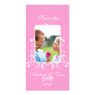 Elegant Pink Satin Save the DateYour Photo Personalised Photo Card