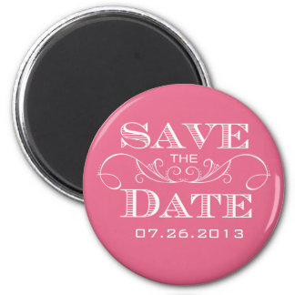 Elegant Pink Save the Date Magnet