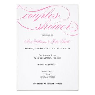 Elegant Pink Script Couples Shower Invitation