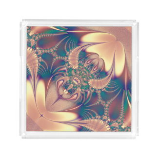 Elegant Pink Silk  Design Acrylic Tray
