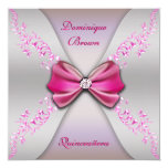 Elegant Pink Silver Diamond Bow Quinceanera Personalized Announcement