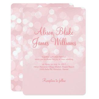 Elegant pink sparkling bokeh wedding invitation