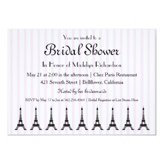 Elegant Pink Stripe French Theme Bridal Shower 13 Cm X 18 Cm Invitation Card