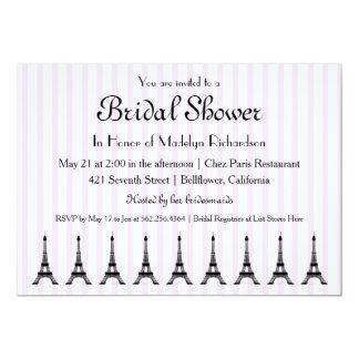 Elegant Pink Stripe French Theme Bridal Shower Card