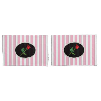 Elegant Pink Striped Pearls & Red Rose Set Pillowcase