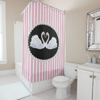 Elegant Pink Striped Pearls & Swans Shower Curtain
