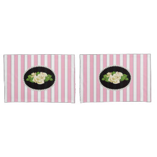 Elegant Pink Striped Pearls & White Roses Set Pillowcase