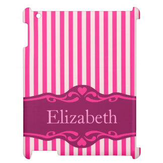 Elegant Pink Striped Personalized Design iPad Covers