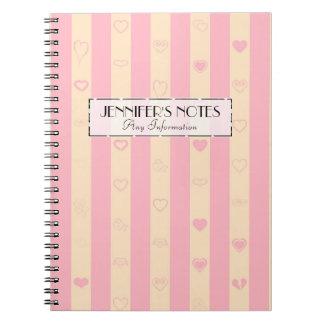 Elegant Pink Stripes Modern Heart Pattern Notebooks