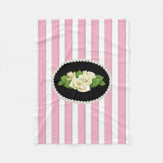 Elegant Pink Stripes, Pearls & White Roses Fleece