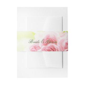 Elegant Pink Summer Rose Wedding Invitation Belly Band
