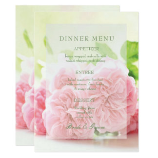Elegant Pink Summer Rose Wedding Menu Card