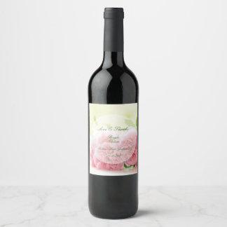 Elegant Pink Summer Rose Wedding Wine Label