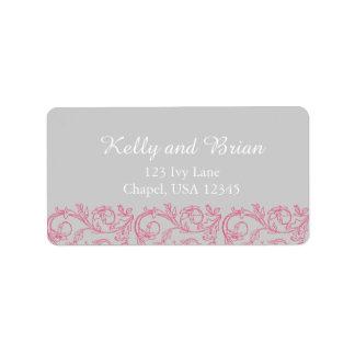 Elegant Pink Swirl Flowers Return Address Labels