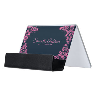 Elegant Pink Swirls Blue Background Desk Business Card Holder