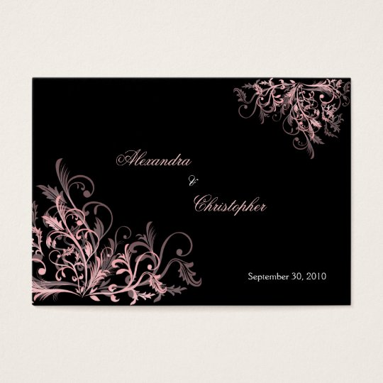 Elegant Pink Swirls RSVP Wedding Announcement Mini
