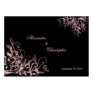 Elegant Pink Swirls RSVP Wedding Announcement Mini Large Business Cards (Pack Of 100)