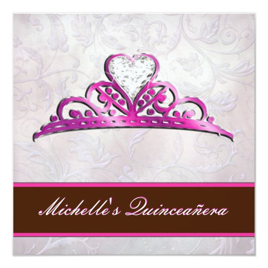 Elegant Pink Tiara Invitation with Diamond