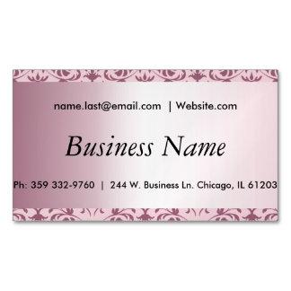 Elegant Pink Tourmaline Damask Magnetic Business Cards