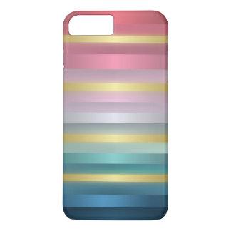 Elegant Pink Turquoise Gold Stripes iPhone 8 Plus/7 Plus Case