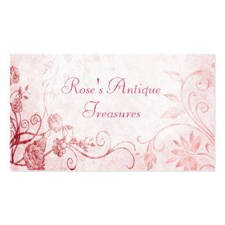 Elegant Pink Vintage Flower Shop Business Cards