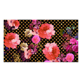 Elegant Pink Vintage Flowers Black Gold Polka Dots Pack Of Standard Business Cards