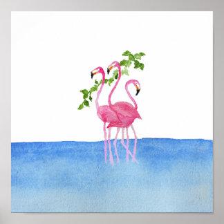 Elegant pink watercolor hand painted flamingo poster
