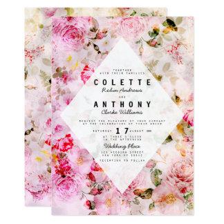 Elegant pink watercolor roses floral wedding card