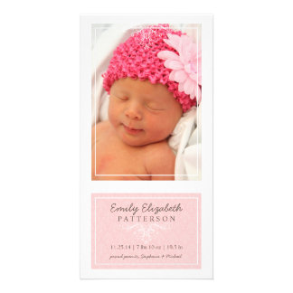 Elegant Pink & White Baby Girl Birth Announcement Card