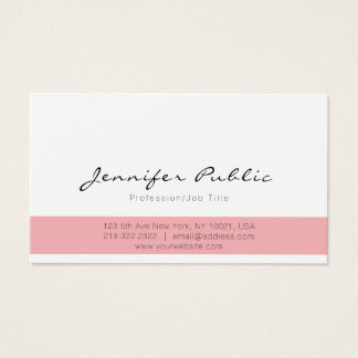 Elegant Pink White Modern Professional Simple Business Card