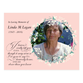 Elegant pink white painted floral wreath funeral postcard