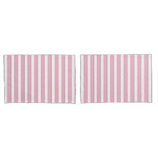 Elegant Pink, White & Silver Striped Case Set Pillowcase