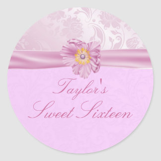 Elegant pink & Yellow Flower Sweet 16 Sticker