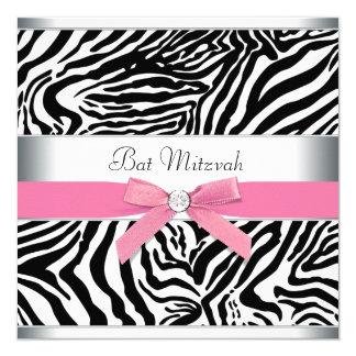 "Elegant Pink Zebra Bat Mitzvah 5.25"" Square Invitation Card"