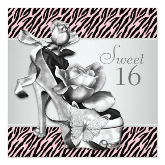 Elegant Pink Zebra Sweet Sixteen Birthday Party 13 Cm X 13 Cm Square Invitation Card