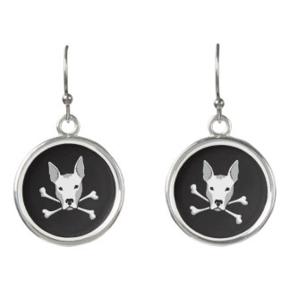 "Elegant ""Pittie Skull"" Sterling Drop Earrings"