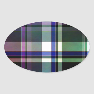 Elegant plaid with colorful stripes oval sticker