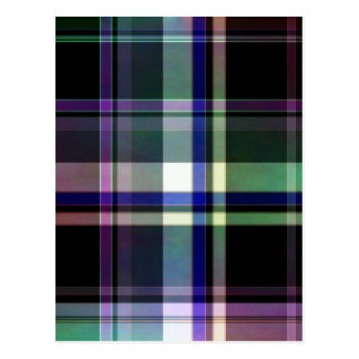 Elegant plaid with colorful stripes postcard