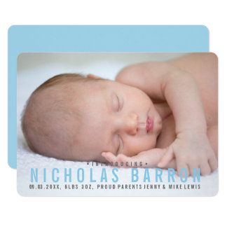Elegant plain BLUE BOY announcement photo card