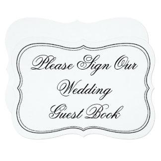 Elegant Please Sign Our Wedding Guest Book Sign 13 Cm X 18 Cm Invitation Card