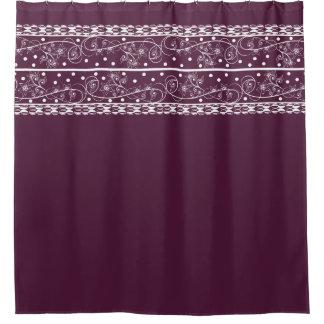 Elegant Plum Floral Lace Shower Curtain