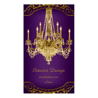 Elegant Plum Purple Gold Chandelier Interior Business Card